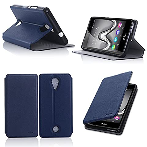 Etui Wiko Tommy 4G 2016 bleu luxe Ultra Slim Cuir Style avec stand - Housse Folio Flip Cover coque de protection smartphone Wiko Tommy bleue - Accessoires pochette XEPTIO : Exceptional case !