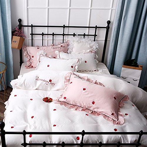 Vier stücke Gesetzt 60 Tage Seide Wenig Frische Prinzessin Wind Stickerei bettwäsche-Frühling-Sommer-Bett-Sofa-A 200x230cm(79x91inch) (Bestickte Seide-bett-abdeckung)