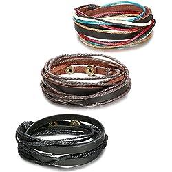 Sailimue 3 Piezas Pulseras Hombre Mujer de Cuero Brazalete Cuerda Ajustable,18-20cm