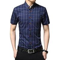 Uomo Camicia Classico / camicia a manica corta / Casual Plaid Slim Fit Taglia M/L/XL/XXL/3XL Blu scuro