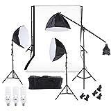 Andoer Studio Fotografico Illuminazione Continua di Video Kit Photography Luce Stare Due 50 * 70cm Softbox Dieci Lampadine Due Supporto Chiaro (#1)