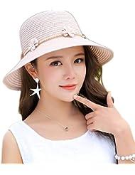 JUNGEN Lindas Flores Señoras Gorra Visera Tapa Señoras Sombrero Sombrero de playa Rosa