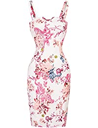 c5bc2f0d66a9 Hearts & Roses London White Floral Retro Vintage 1950s Fitted Pencil Party  Dress