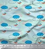 Soimoi Grun Baumwoll-Voile Stoff Wolken & Vogel Stoff