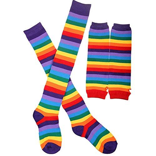 LI&HI Damen Fashion Stricken Regenbogen Streifen Strümpfe Socken Handschuhe Set Wärmer Füßlinge Knieschützer Halloween Party Weihnachtsgeschenke (Knit-streifen-stulpen)