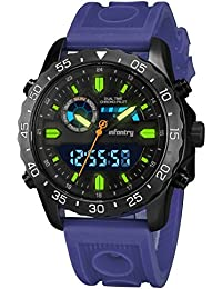Infantería ® Mens analógico–digital muñeca reloj cronógrafo alarma Sport correa de goma azul