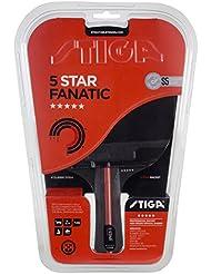 Stiga 5-Star Fanatic, Concave Racchetta da Ping Pong, Nero/Rosso, Taglia Unica