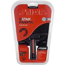 Stiga 5-Star Fanatic, Concave raqueta de ping pong, Negro/Rojo, talla única
