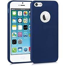 kwmobile Funda de TPU silicona chic para el > Apple iPhone SE / 5 / 5S < en azul oscuro mate