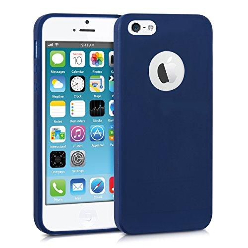 kwmobile Funda de TPU silicona chic para el Apple iPhone SE / 5 / 5S en azul oscuro mate