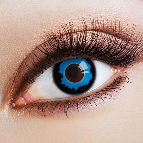 aricona Farblinsen schwarze Kontaktlinsen blau farbig | bunte farbige Dämon Farbkontaktlinsen dunkelblaue 12 Monatslinsen für Halloween Make up & Cosplay