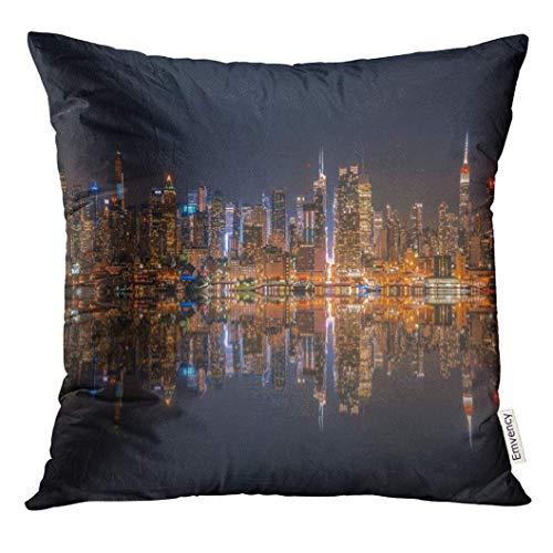 Dekokissenbezug Cityscape Lower Manhattan Skyline at Night Reflected in Water York Decorative Pillow Case Home Decor Square 18x18 Inches Pillowcase (York Halloween In)