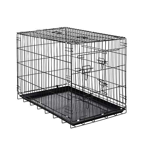 Zelsius Transportkäfig   Hundebox   Hundekäfig   Drahtkäfig für Hund Katze klein bis groß   S - XXL   mit 2 Türen   faltbar (L - 91 x 60 x 66 cm)