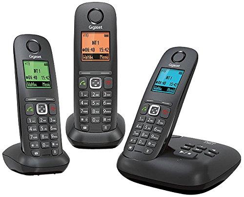 Gigaset A540 A Trio Dect-Schnurlostelefon mit Anrufbeantworter, incl. 2 zusätzlicher Mobilteile, anthrazit/schwarz