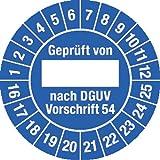 Prüfplakette Geprüft...DGUV Vorschrift 54, 2016 - 2025, Dokumentenfolie, Ø 3 cm, 100 St.