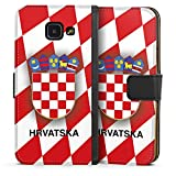 DeinDesign Samsung Galaxy A3 (2016) Tasche Leder Flip Case Hülle Kroatien Em Trikot Football Fussball