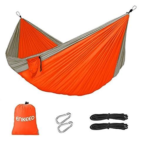 Enkeeo Double-Hamac Tissu en Parachute Nylon Portable Inclut 2 Corde avec Mousquetons et Sac de Transport