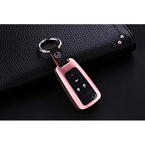 [M. JVisun] telecomando auto keyless entry chiave cover Fob Skin per Chevrolet Aveo Trax epica Lova RV Malibu sail3Camaro, in alluminio guscio protettivo in vera pelle con portachiavi