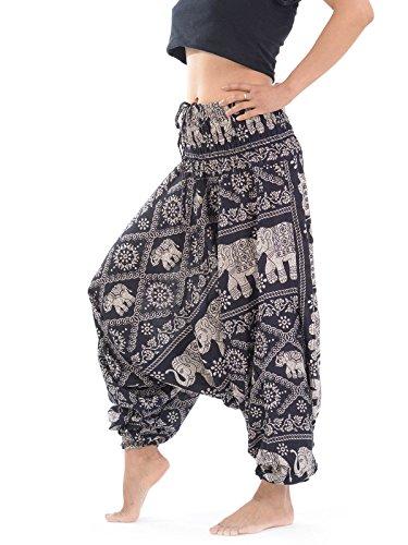 Pantalon Sarouel femme par Forgotten Tribes® motifs multiples (Elephant - noir)