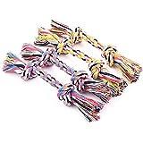 Ecloud Shop® 4 piezas Mascota mordedura cuerda bola doble nudo nudos molar limpieza de dientes algodón cuerda pet suministros M (color al azar)