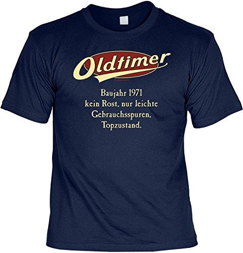 Spaß/Jahrgangs/Geburtstags-Shirt/Party-Shirt: Oldtimer Baujahr 1971 - kein Rost, nur leichte Gebrauchsspuren, Topzustand. Navyblau