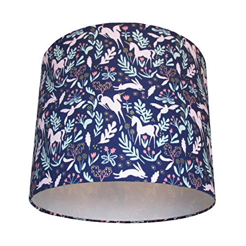 handmade-lampshade-in-a-navy-blue-magic-folk-fabric-by-michael-miller