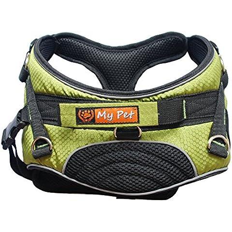 My Pet Pettorina per cani Elegante, Morbido e Imbottito Regolabile Pet Harness Vest for Walking Verde L - Cane Antico