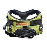 My Pet Dog Harness Stilvolle Weich Gepolsterte Einstellbare Haustier Harness-Weste für Wanderungen Grün L
