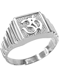 925 Sterling Silver Om Men's Ring