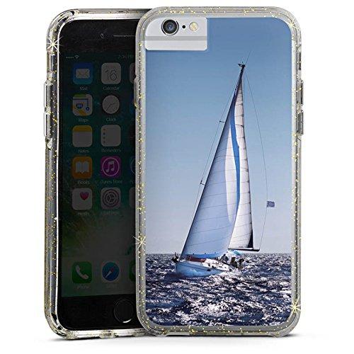 Apple iPhone 6 Plus Bumper Hülle Bumper Case Glitzer Hülle Segeln Sailing Segelboot Bumper Case Glitzer gold