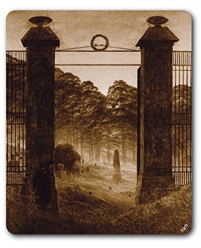 1art1 88732 Caspar David Friedrich - Friedhofseingang, 1825, Sepia Mauspad 23 x 19 cm