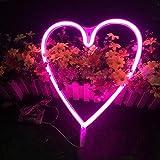Kreative LED-Herz Neon Night Light Wandleuchte Urlaub Dekorationen, Pink, USB-Kabel mit Strom versorgt