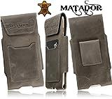 MATADOR Slim Design Vintage Antiguo Gris Washed de cuero para Motorola Moto G 2ª generación 4G LTE (2014) funda Cinturón Funda Vertical con Cierre de Velcro y trabilla para cinturón EC./Tarjetero
