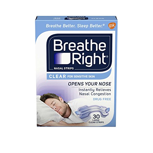 Breathe Right Nasal Strips, Large, Clear, 30-Count Boxes (Pack of 2) -