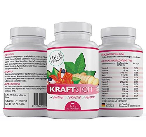 Premium Winter-Energiebooster - Stärkt das Immunsystem mit 12 Vitaminen + Guarana Ingwer & Grüntee - Kraftstoff Kapseln B-Komplex - Hochdosiertes Vitamin D3 + K2 & B12