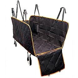 Grande housse de siège pour chien avec rabats latéraux - Hamac Coussin imperméable à l'arrière avec siège de voiture avec ancrages de siège pour voitures