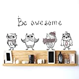 #8: DeStudio Cute Hipster Owls Wall Stickers (Wall Covering Area : 90cm X 60cm)-14004-D