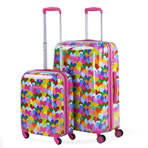 Agatha RUIZ DE LA PRADA Reisekoffer mit Herzdruck, Trolley mit 4 Rädern aus Polycarbonat, bequem und leicht. Größe M und S. Qualität Design und Marke 131102, Fuchsia (Pink) - 131102