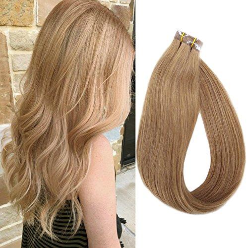 Extensions adesive lisce - con capelli veri 20 ciocche larghezza 4 cm lunghezza 40 45 50 55 60 cm (40cm, no.12 marrone chiaro)