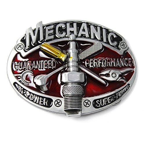 Gürtelschnalle, Aufschrift Mechanic, western cowboy/punk belt buckle