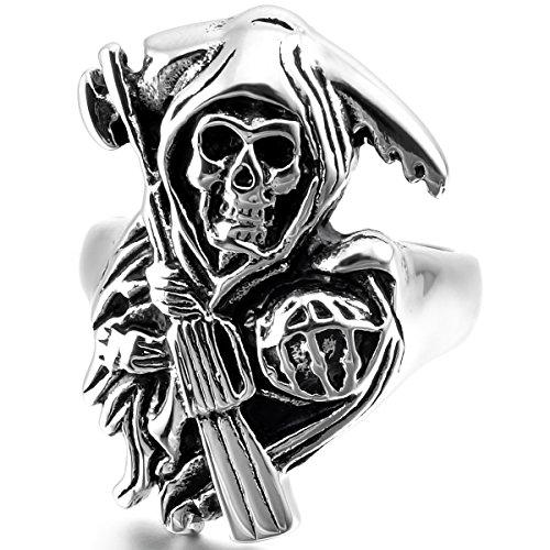 MunkiMix Acier Inoxydable Anneau Bague Bague Ton d'Argent Noir Faucheuse Faucheur Crâne Coulé Taille 57 Homme