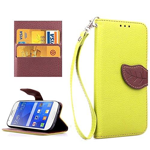 FeiNianJSh Für Samsung Galaxy Ace 4 G357, Blatt Magnetische Snap Litchi Textur Horizontale Flip Leder Tasche mit Card Slots & Holder & Lanyard (Farbe : Grün) Ace-snap