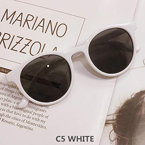 YKDDGG modeaccessoires Sonnenbrille Retro Runde Sonnenbrille Frauen Männer Sommer Brille Persönlichkeit Kreis Sonnenbrille UnisexWeiß