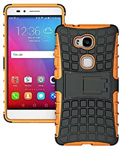 Heartly Flip Kick Stand Spider Hard Dual Rugged Shock Proof Tough Hybrid Armor Bumper Back Case Cover For Huawei Honor 5X - Mobile Orange