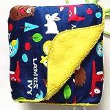 Mini Berry Kids Double Layer Velvet Fleece Newborn Printed 76 X 100 Cm Size Baby Blanket (Navy Animal Print)