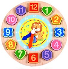 Baby Shelf - Geometric Shapes, Number Beads, Wooden Clock Toy