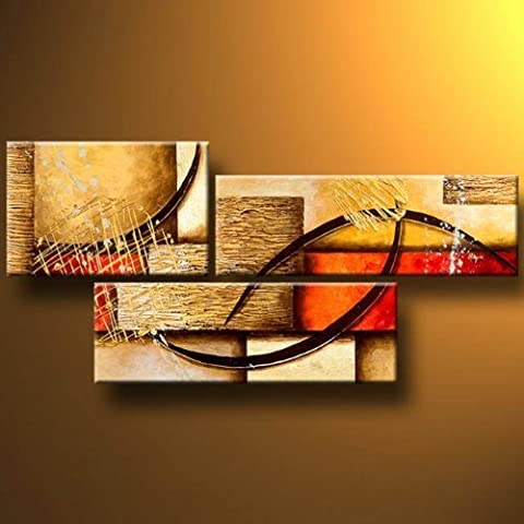 Wieco Art - 3 Pcs Modern Stretched and Framed Abstract 100% Hand Painted Oil Paintings Artwork on Canvas Wall Art Ready to Hang Deco for Living Room Bedroom Home Decorations