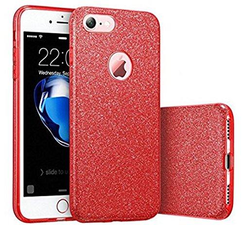 iPhone 7 Hülle, Vanki® Luxus TPU+PC Hardcase Glitzer Schutzhülle Bling Hardcase Handyhülle Etui Case Für iPhone 7 (4,7 Zoll) (iPhone 7, golden) Rote
