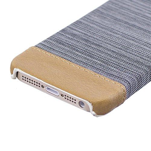 Apple iPhone 5 5G 5S SE Coque, Voguecase Rigide Plastique Shell Housse Coque Étui Case Cover(Voile Séries-Bleu foncé)de Gratuit stylet l'écran aléatoire universelle Voile Séries-Gris