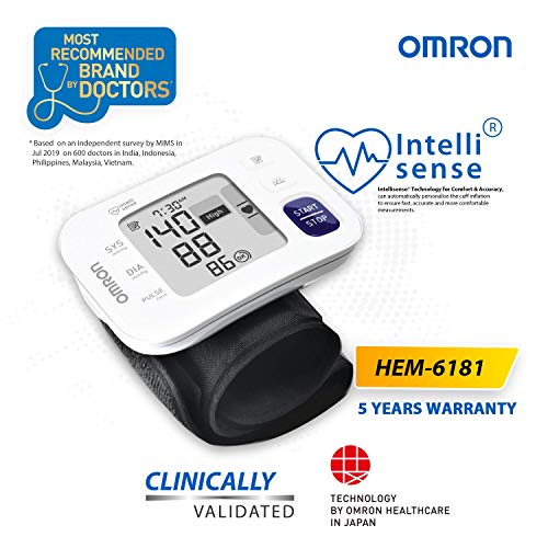Omron HEM 6181 Fully Automatic Wrist Blood Pressure Monitor with Intelligence Technology, Cuff Wrapping Guide and Irregular Heartbeat Detection for Most Accurate Measurement (White)